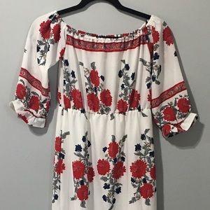 Off Shoulder Ruffle Sleeve Floral Maxi Dress Slit